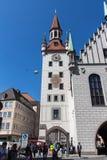 老慕尼黑城镇厅Marienplatz的,德国, 2015年 库存照片
