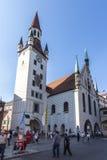 老慕尼黑城镇厅Marienplatz的,德国, 2015年 免版税库存照片