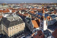 老慕尼黑城镇厅Marienplatz的,德国, 2015年 免版税库存图片