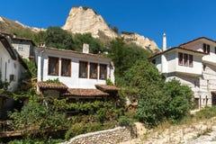 老房子从19世纪在梅利尼克,保加利亚镇  免版税图库摄影