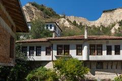 老房子从19世纪在梅利尼克,保加利亚镇  库存图片