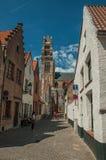 老房子和大教堂砖门面在布鲁日 免版税图库摄影