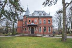 老房子和自然在拉脱维亚,里加在1月 历史buil 免版税图库摄影