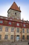 老房子和设防在老城市街道上耸立 塔林 爱沙尼亚 免版税库存照片