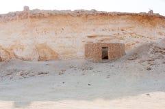 老房子在一个村庄在Zekreet沙漠,多哈,卡塔尔 免版税图库摄影