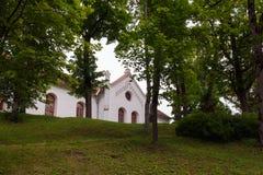 老房子在塔尔西,拉脱维亚,街道视图 免版税库存照片