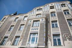 老房子在慕尼黑,巴伐利亚,有蓝天的 图库摄影