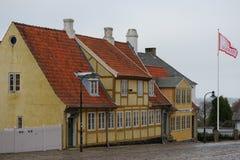 老房子在罗斯基勒,丹麦 免版税库存照片