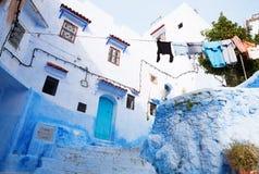 老房子在麦地那,舍夫沙万,摩洛哥 图库摄影