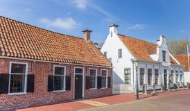 老房子在Aduard历史村庄  免版税库存照片