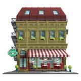 老房子用减速火箭的咖啡馆 老抽象在白色背景隔绝的大厦和门面 免版税库存照片