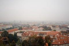 老房子美好的顶视图在欧洲镇 图库摄影