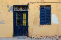 老房子门面在古镇,罗得岛希腊 免版税库存图片