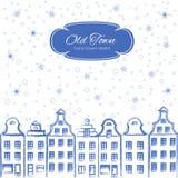 老房子,欧洲,导航都市新年例证,在白色,建筑限界艺术的手拉的乱画墨水剪影 库存图片