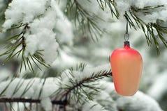 老手工制造圣诞节装饰品在冬天森林里 库存照片
