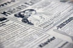 老报刊广告 免版税图库摄影