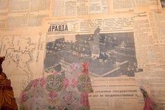 老报纸真理报 免版税库存照片