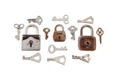 老挂锁和关键字 免版税库存图片