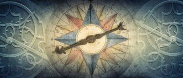 老指南针和星盘-在葡萄酒背景的古老天文学设备 在历史的摘要老概念性背景, 皇族释放例证