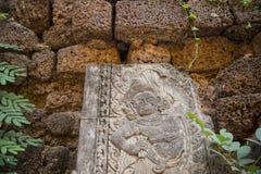 老挝万象WAT SI MUANG高棉STUPA废墟 图库摄影