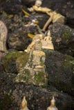 老挝万象WAT SI MUANG高棉STUPA废墟 库存照片