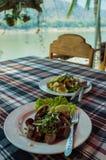 老挝人午餐,琅勃拉邦,老挝 免版税库存图片
