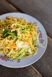 老挝人意粉stirfry鸡 免版税库存图片