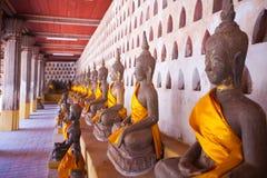 老挝人saket si寺庙万象wat 免版税库存图片