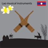 老挝全国乐器,老挝的全国花 免版税库存图片