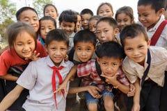 老挝孩子小组 图库摄影