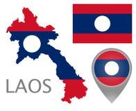 老挝旗子、地图和地图尖 库存例证