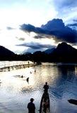 老挝湄公河日落 免版税库存照片