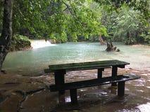 老挝瀑布美好的自然游泳 库存照片