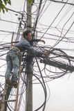 老挝琅勃拉邦输电线 图库摄影