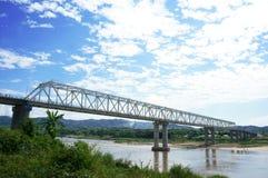 老挝缅甸第一座友谊桥梁 免版税库存照片