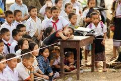 老挝语哄骗室外学校 库存图片
