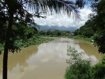 老挝luang湄公河prabang河 图库摄影