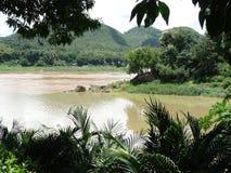 老挝luang湄公河prabang河 库存图片