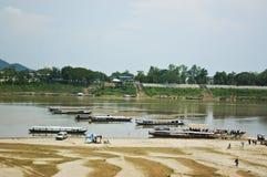 老挝mekongr河sanakham 库存照片
