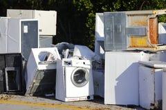 老损坏的装置在飓风厄马以后的佛罗里达群岛 免版税库存图片