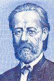 从老捷克金钱的Bedrich Smetana画象 图库摄影