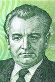 从老捷克金钱的Klement哥特瓦尔德画象 库存图片