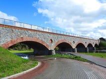 老改建火车桥梁,立陶宛 库存照片