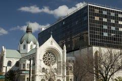 老教会和现代大厦 库存照片