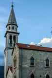 老教会在布德瓦,黑山。 库存照片