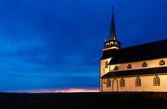 老教会在纽芬兰的晚上 库存图片