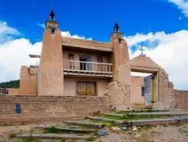 老教会在Las Trampas历史的区  免版税库存图片