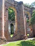 老教会废墟在南卡罗来纳 图库摄影