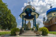 老教会的外在建筑学的片段 西部乌克兰 19世纪archiculture的纪念碑  库存照片