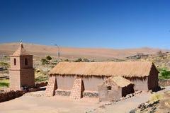 老教会 Socaire 圣佩德罗火山de阿塔卡马省 智利 图库摄影